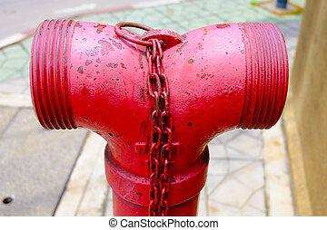 φωτιά , φωτιά , κτίριο , εργασία σωλήνων , πάνω , γοβάκια , κλείνω , πότε , κόκκινο , πυροσβεστήρες