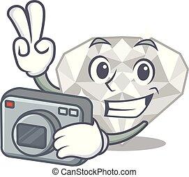 φωτογράφος , άσπρο , διαμάντι , απομονωμένος , γελοιογραφία