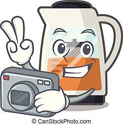 φωτογράφος , γελοιογραφία , μπουκάλι , τσάι , υπηρέτησα , δημιουργός