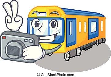 φωτογράφος , γελοιογραφία , τρένο , απομονωμένος , υπόγεια διάβαση