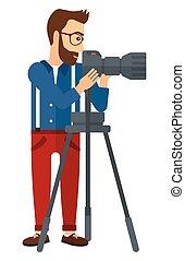 φωτογράφος , εργαζόμενος , κάμερα.