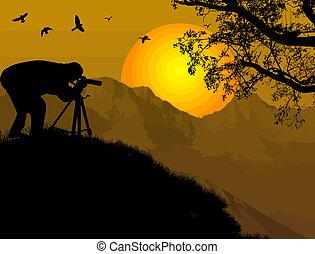 φωτογράφος , ηλιοβασίλεμα
