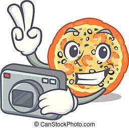 φωτογράφος , θαλασσινά , γουρλίτικο ζώο , σχήμα , πίτα με τομάτες και τυρί