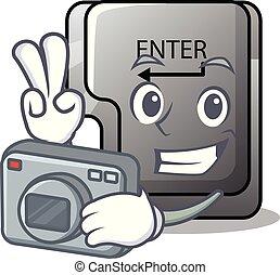 φωτογράφος , κουμπί , απομονωμένος , γελοιογραφία , εισέρχομαι