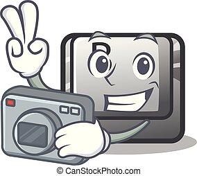 φωτογράφος , κουμπί , b , επάνω , ένα , γουρλίτικο ζώο ,...