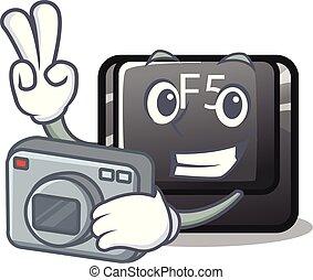 φωτογράφος , κουμπί , f5, μέσα , ο , σχήμα , γελοιογραφία