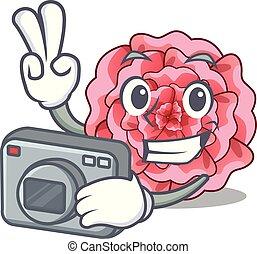 φωτογράφος , λουλούδι , γαρίφαλο , απομονωμένος , γελοιογραφία