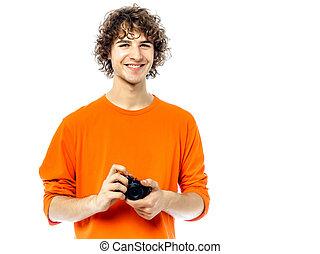 φωτογράφος , νέος , φωτογραφηκή μηχανή , κράτημα , πορτραίτο , άντραs