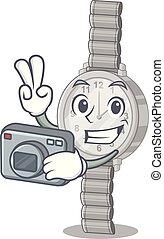 φωτογράφος , ρολόι χεριού , απομονωμένος , γουρλίτικο ζώο