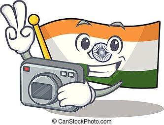 φωτογράφος , σημαία , ινδός , χαρακτήρας , απομονωμένος