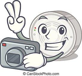 φωτογράφος , σχήμα , ανιχνευτής , καπνός , γελοιογραφία
