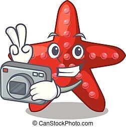 φωτογράφος , σχήμα , γελοιογραφία , αστερίας , κόκκινο