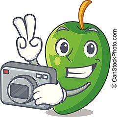 φωτογράφος , σχήμα , μάνγκο , πράσινο , γελοιογραφία