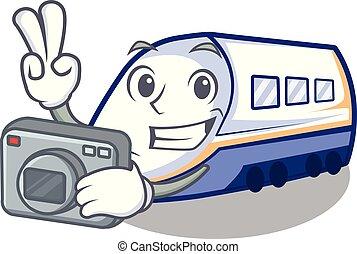 φωτογράφος , τρένο , απομονωμένος , shinkansen , γελοιογραφία