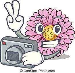 φωτογράφος , gerbera , λουλούδι , απομονωμένος , γελοιογραφία