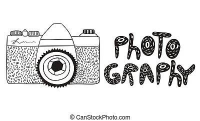 φωτογραφία κάμερα , επιγραφή , ρυθμός , γράφω άσκοπα , άσπρο , φόντο. , απομονωμένος