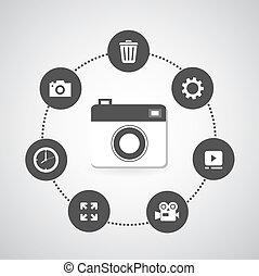 φωτογραφηκή μηχανή , απεικόνιση , θέτω