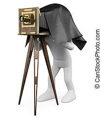 φωτογραφηκή μηχανή , retro , γριά , ακόλουθοι. , φωτογράφος , 3d , άσπρο