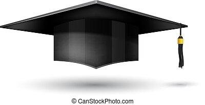 φόντο , απομονωμένος , σκούφοs , άσπρο , αποφοίτηση