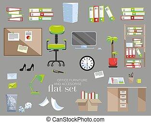 φόντο. , γραφείο , design., συλλογή , γκρί , χώρος εργασίας , έπιπλα , εσωτερικός , νικητής , illustration., διαμέρισμα , πράσινο , γελοιογραφία , φόρμα , απεικόνιση , θέτω , εξαρτήματα , κόκκινο