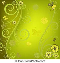 φόντο , διακοσμητικός , άνθινος , πράσινο