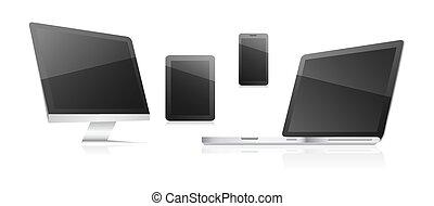 φόντο. , επικοινωνία , δισκίο , laptop., έμβλημα , τηλέφωνο , ηλεκτρονικός υπολογιστής , τεχνολογικός , άσπρο , κομψός