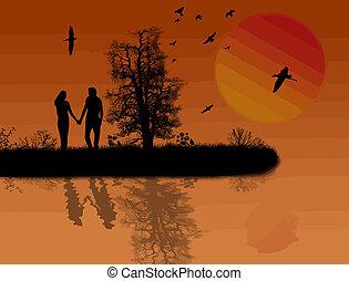 φόντο , ηλιοβασίλεμα , όμορφος