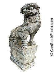 φόντο , κινέζα , απομονωμένος , λιοντάρι , άγαλμα , άσπρο