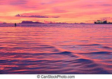φόντο , πανοραματικός , τροπικός , θαλασσογραφία , ηλιοβασίλεμα , hdr