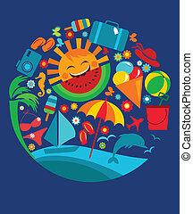 φόρμα , από , καλοκαίρι , απεικόνιση , επάνω , μπλε