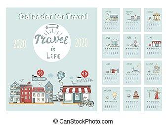 φόρμα , μικροβιοφορέας , αναπηδώ , 2020, sunday., χέρι , skyline., ημερολόγιο , εβδομάδα , travel., print., illustration., μετοχή του draw , πόλη , γελοιογραφία