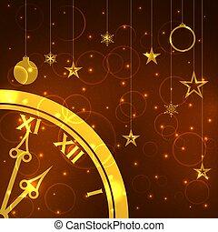 φόρμα , clock., φόντο , έτος , καινούργιος , xριστούγεννα , vector.