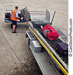 φόρτωση , επάνω σε , αεροπλάνο , αποσκευέs