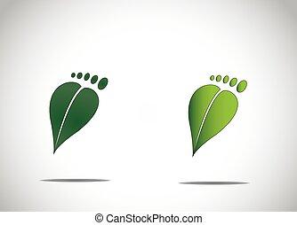 φύλλο , αφαιρώ , φιλικά , περιβάλλον , πόδι , πράσινο , ανθρώπινος , πατημασιές, άνθρακας , εικόνα , εικόνα