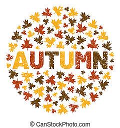 φύλλο , δέντρο , περιβάλλω , φόντο , illustration., φθινόπωρο , λέξη