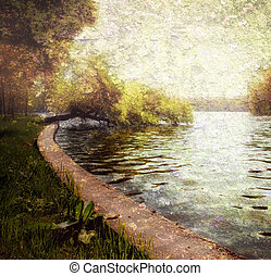 φύση , γαλήνιος , παστέλ , - , δέντρα , και , λίμνη