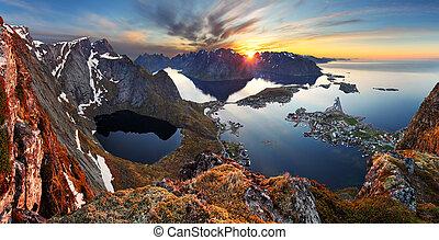 φύση , πανόραμα , βουνήσιος γραφική εξοχική έκταση , σε , ηλιοβασίλεμα , norway.