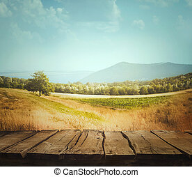 φύση , φόντο , με , ξύλο , επενδύω δι