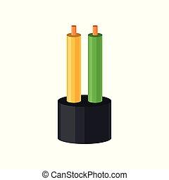 χάλκινο σύρμα , καλώδιο , χρώμα , δυο , εικόνα , απομονωμένος , μικροβιοφορέας , ηλεκτρικός , φόντο , απομόνωση , άσπρο
