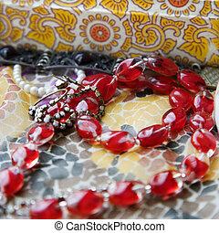 χάντρα , κόκκινο , necklace.