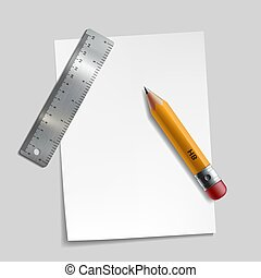 χάρακαs , paper., κομμάτι , μέταλλο , μολύβι