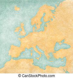 χάρτηs , από , ευρώπη , - , κενό , χάρτηs , (vintage,...