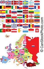 χάρτηs , από , ευρώπη , με , εξοχή , σημαίες