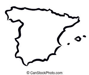 χάρτηs , αφαιρώ , περίγραμμα , ισπανία