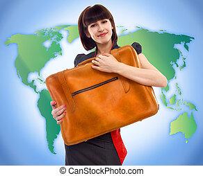 χάρτηs , γυναίκα , περιηγητής , νέος , αποσκευές , φόντο , ...
