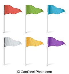 χάρτηs , δείκτης , σημαίες , vector., σημαία , συλλογή , isolated., γενική ιδέα , από , δρόμος , διακριτικό σημείο , περιπέτεια , illustration.