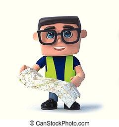 χάρτηs , δικός του , εργάτης , υγεία , navigates, ασφάλεια , 3d