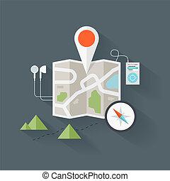 χάρτηs , δρόμος , εικόνα , διαμέρισμα