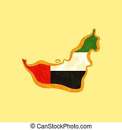 χάρτηs , ενωμένος , έγχρωμος , - , emirati, άραβας , σημαία , emirates