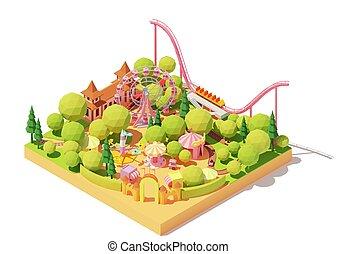 χάρτηs , πάρκο , isometric , μικροβιοφορέας , διασκέδαση